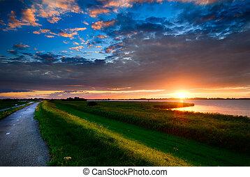 дорога, страна, закат солнца