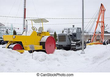 дорога, equipment., ретро, landcape, зима
