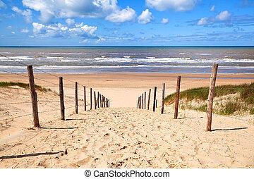 дорожка, пляж, север, сэнди, море