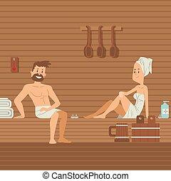досуг, женщина, вектор, курорт, спа, горячий, illustration., towels, сауна, couple., сауна, тело, люди, сидящий, наслаждаться, лечение, забота, романтический, оздоровительный, расслабиться, человек