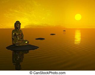 до, будда, sunset.