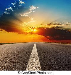драматичный, закат солнца, дорога