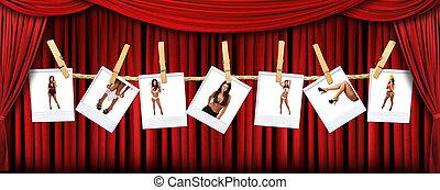драпировка, polaroids, theatre, абстрактные, задний план, горячий, женский пол, сексуальный, красный, сцена