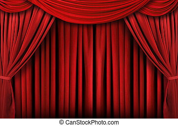 драпировка, theatre, абстрактные, задний план, красный, сцена