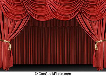 драпировка, theatre, задний план, сцена