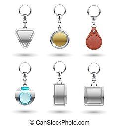 другой, кожа, isolated, shapes, реалистический, вектор, keychains, задний план, серебряный, прозрачный, золотой