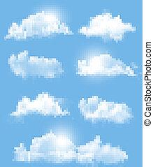 другой, прозрачный, задавать, vector., clouds.