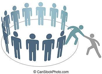 друг, люди, присоединиться, helps, members, группа, компания, помощник