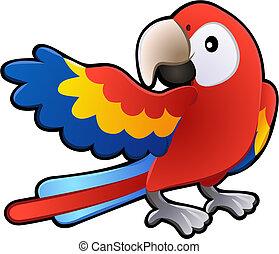 дружелюбный, ара, попугай, иллюстрация, милый