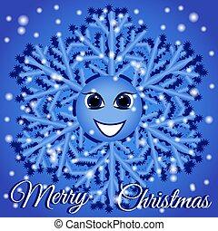 дружелюбный, flakes, веселая, 3d, снежинка, снег