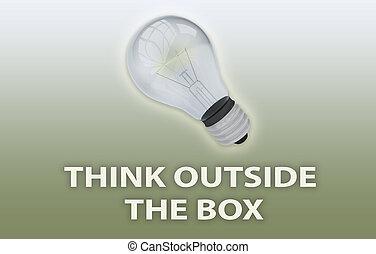 думать, коробка, концепция, за пределами