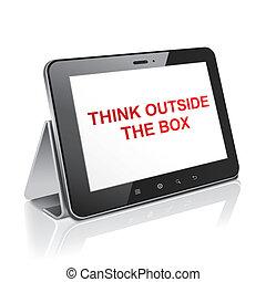 думать, таблетка, за пределами, дисплей, компьютер, коробка