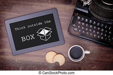 думать, таблетка, за пределами, трогать, деревянный, компьютер, таблица, приспособление