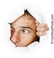 дыра, через, looks, человек