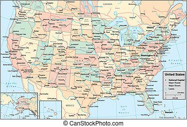 единый, карта, америка, состояния