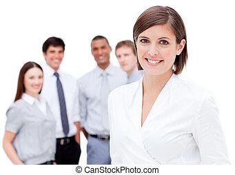 ее, команда, задний план, менеджер, против, белый, веселый, фронт