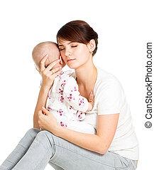 ее, комфорт, isolated, плач, мама, детка, пытаясь