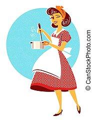 ее, суп, молодой, готовка, кухня, комната, домохозяйка