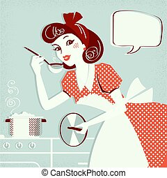 ее, текст, суп, портрет, готовка, кухня, комната, домохозяйка