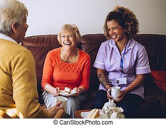 ее, patients, sharing, время, чай, воспитатель