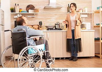 жена, инвалидная коляска, человек, конфликт, having