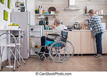 жена, инвалид, человек, кухня, помощь