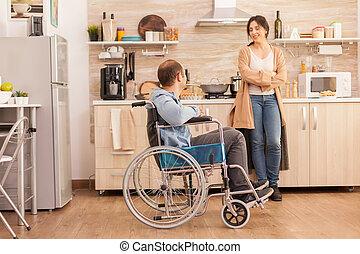 жена, кухня, счастливый