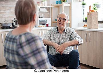 жена, talking, отключен, человек, старшая
