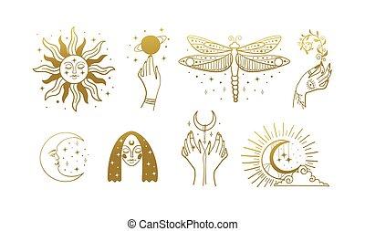 женский пол, марочный, boho, стрекоза, logos, солнце, elements, тайный, белый, background., gold., иллюстрация, hands., линия, isolated, луна, пачка, астрология, вектор, лицо