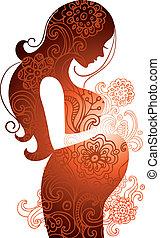 женщина, беременная, силуэт
