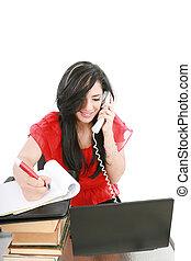 женщина, бизнес, молодой, телефон, офис, улыбается, принятие, notes