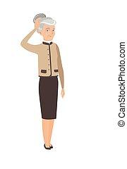 женщина, бизнес, scratching, head., старшая, кавказец