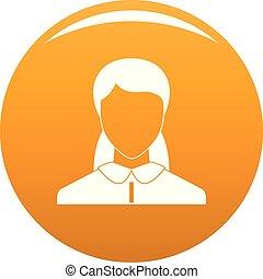 женщина, вектор, аватар, оранжевый, новый, значок