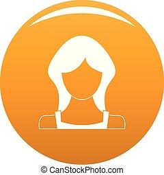 женщина, вектор, пользователь, оранжевый, новый, значок
