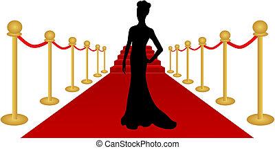 женщина, вектор, силуэт, красный, ковер