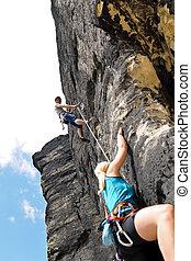 женщина, вешать, канат, камень, альпинизм, инструктор, мужской