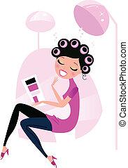 женщина, волосы, красота, салон, милый, isolated, розовый, белый