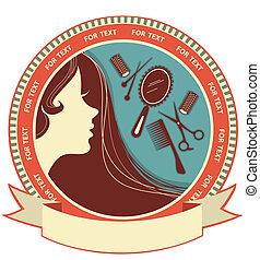 женщина, волосы, салон, задний план, лицо