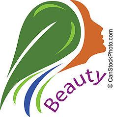 женщина, волосы, face-healthy, логотип, вектор