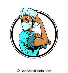 женщина, врач, это, можно, мы, medcine, африканец, маска