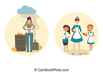 женщина, горничная, после, безработный, до, новый, люди, вектор, работа, занятость, иллюстрация, finds