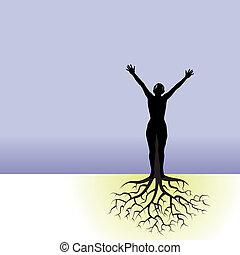 женщина, дерево, roots