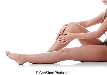 женщина, держа, leg.