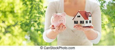 женщина, дом, вверх, поросенок, закрыть, модель, банка