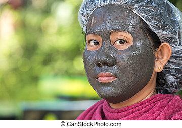 женщина, ее, лицо, грязи, зеленый, задний план, пятно, спа, тайский