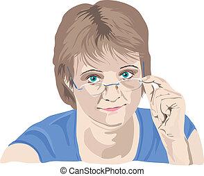 женщина, ее, над, fingers, ищу, зрелый, glasses