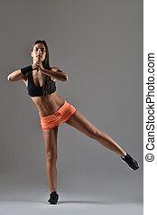 женщина, за работой, фитнес, вне, красивая