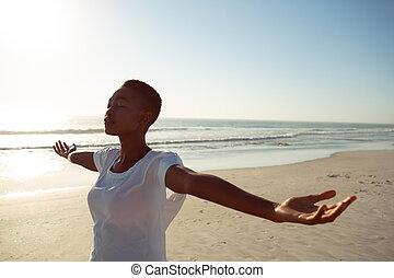 женщина, йога, пляж, performing