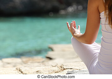 женщина, йога, подробно, рука, exercises, пляж