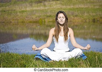 женщина, йога